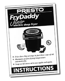 FryDaddy® Jr. electric deep fryer Instruction Manual