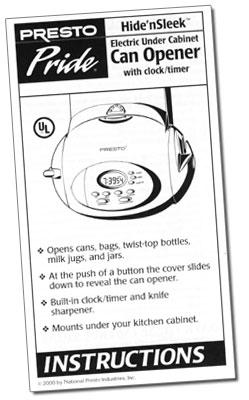 Presto Pride® Hide'nSleek™ under cabinet can opener Instruction Manual