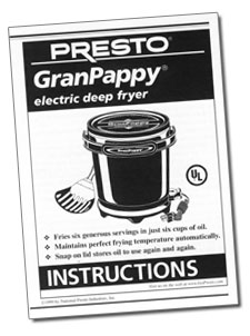 GranPappy® electric deep fryer Instruction Manual