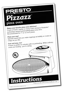 Instruction Manual for Pizzazz® pizza oven
