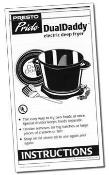 Instruction Folder for Presto Pride® DualDaddy™ electric deep fryer