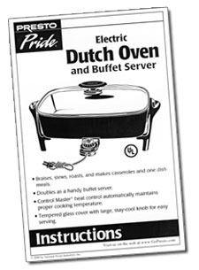 Instruction Manual for Electric Dutch Oven and Buffet Server