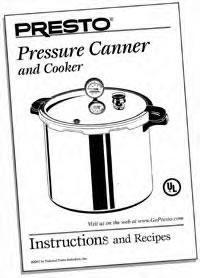 Instruction/Recipe Book for Pressure Canner