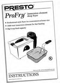 Instruction Folder for ProFry™ immersion element deep fryer