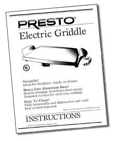 Instruction Manual for 19-inch Electric Griddle