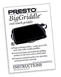 Instruction Manual for BigGriddle™ Cool-touch Griddle