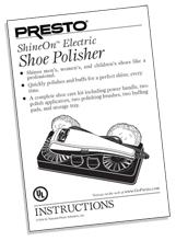 Instruction Manual for the ShineOn™ electric shoe polisher (Model No. 08702).