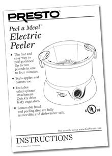 Instruction Manual for the Peel-a-Meal™ Electric Peeler