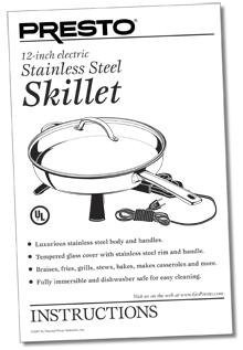Instruction Manual for the Stainless Steel Electric Skillet