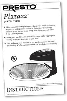 Instruction Manual for Presto® Pizzazz® Pizza Oven