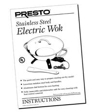 Instruction Manual for the Presto® Stainless Steel Electric Wok
