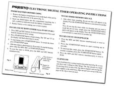 Instruction Manual for the Presto® Electronic Digital Timer - - Presto®