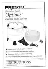 Instruction Manual For The Presto 174 6 Qt Stainless Steel