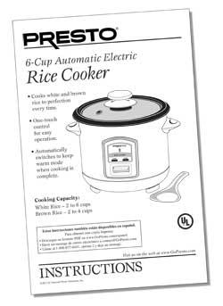 Instruction Book for 6-Cup Electric Rice Cooker