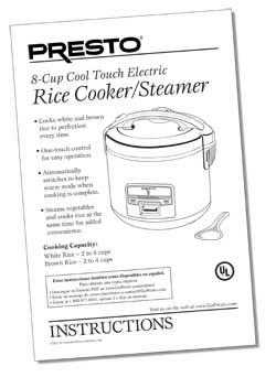 Instruction Book for 8-Cup Electric Rice Cooker