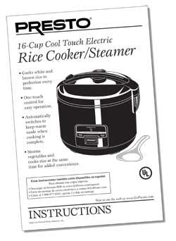 Instruction Book for 16-Cup Electric Rice Cooker