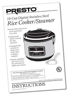 Instruction Book for 16-Cup Digital Rice Cooker