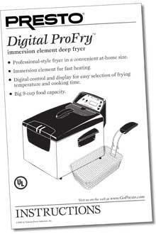 Instruction Folder for Digital ProFry™ immersion element deep fryer