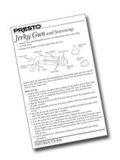 Instruction Sheet for the Presto™ Jerky Gun