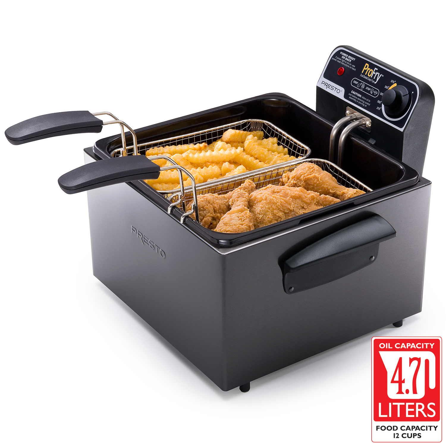 Black Stainless Steel Dual Basket ProFry™ immersion