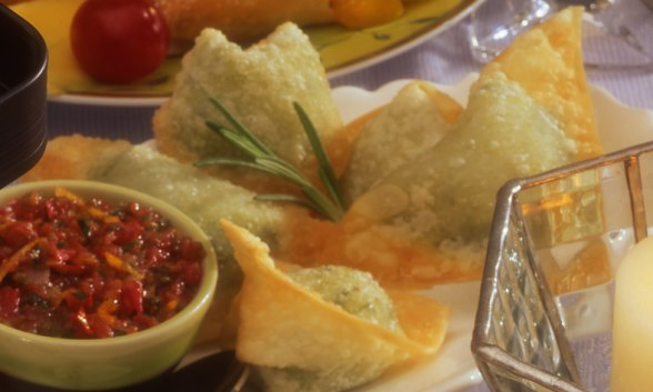 Goat Cheese Wontons with Tomato Salsa