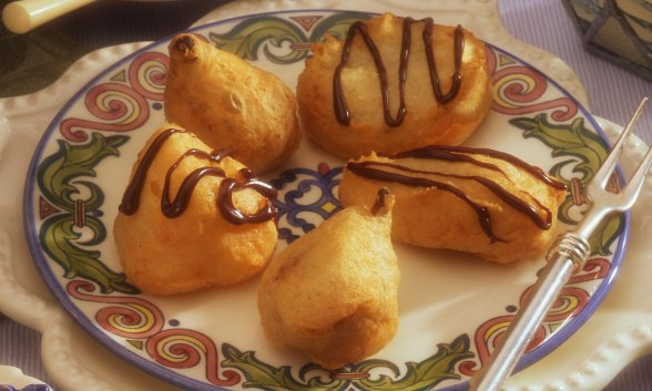 Champagne Fruit Fritters with Chocolate Amaretto Drizzle
