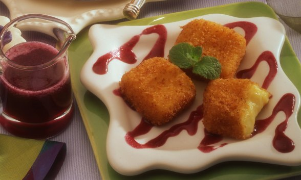 Heavenly Custard Bites with Blueberry Sauce