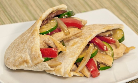 Stir-Fry Chicken and Vegetable Pitas