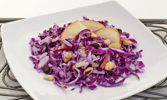 Cabbage-Apple Slaw with Raisins and Peanuts