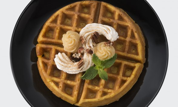 Pumpkin Waffles with Honey Ginger Butter