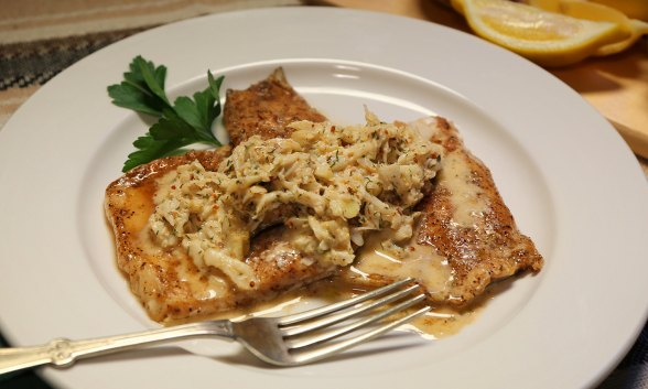 Smoked Trout with Crabmeat and Lemon Dill Garlic Sauce