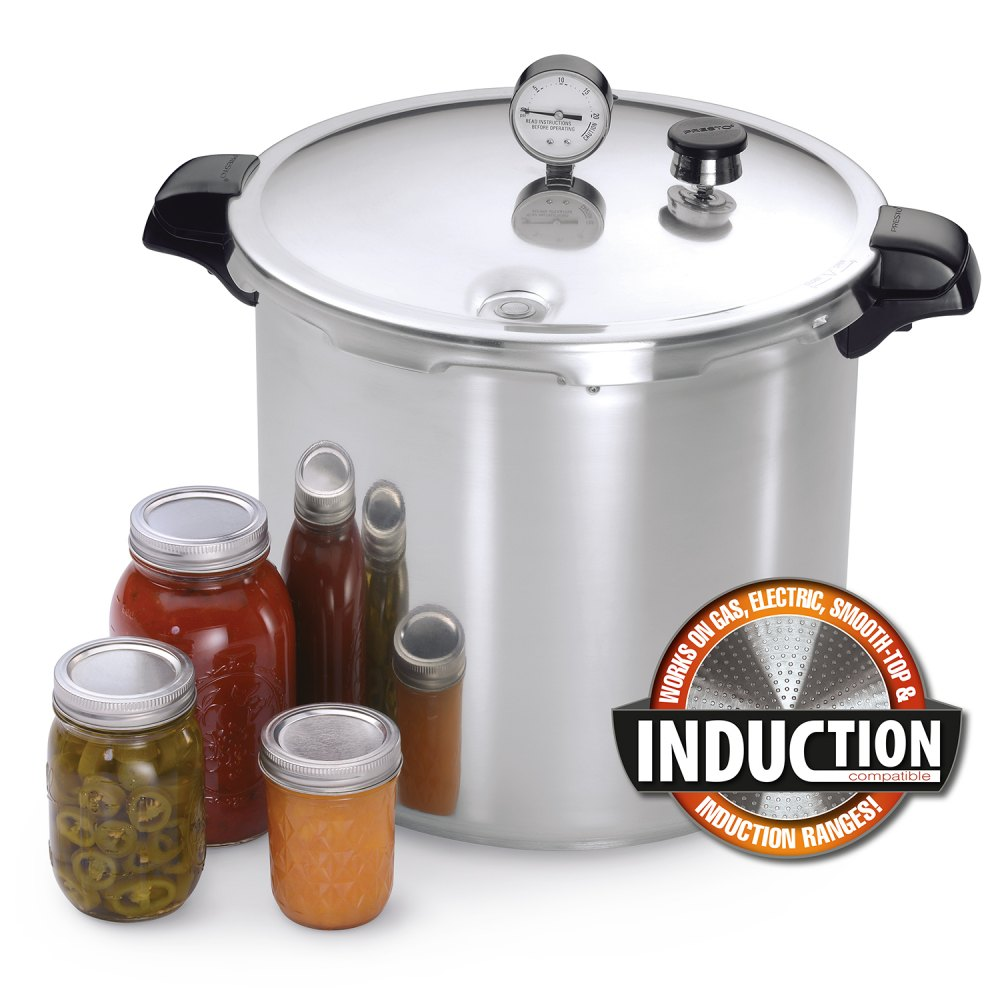 23 Quart Induction Compatible Pressure Canner With Stainless Steel Clad Base Canners Presto
