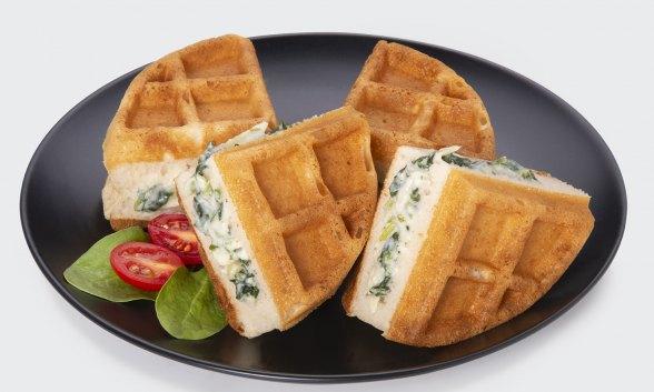 Spinach Artichoke Stuffed Keto Waffle